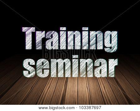 Learning concept: Training Seminar in grunge dark room