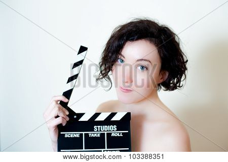 Young Beautiful Actress With Clapper Board