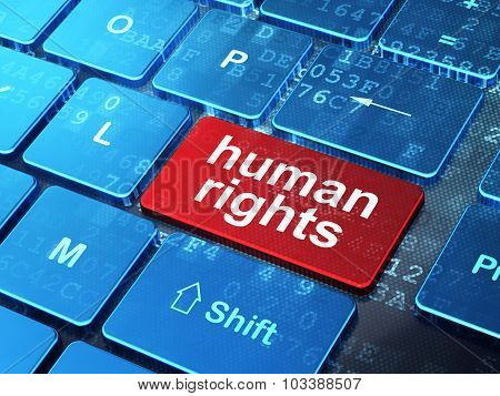 Political concept: Human Rights on computer keyboard background