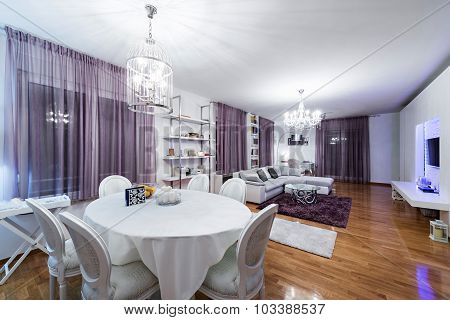 Urban apartment-living and dining room