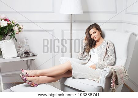 Beautiful Woman Relaxing At Home.