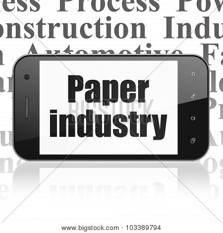 Industry concept: Smartphone with Paper Industry on display