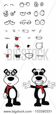 hug teddy panda bear cartoon emotions set