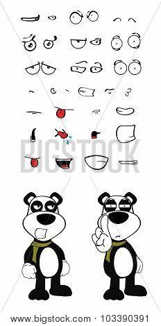 angry teddy panda bear cartoon emotions set