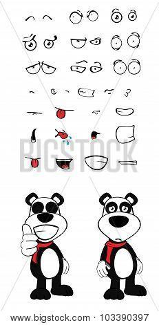 teddy panda bear cartoon emotions