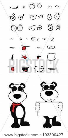 teddy panda bear cartoon emotions pack