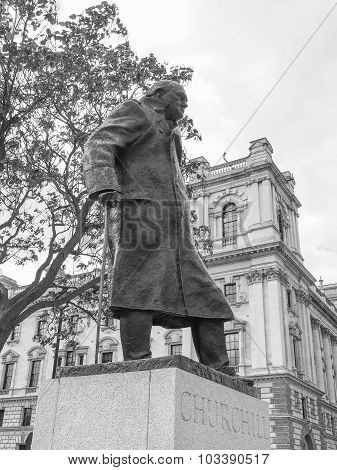 Black And White Churchill Statue In London