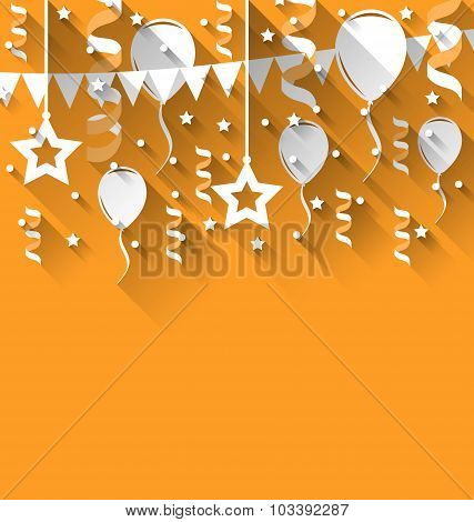 Happy birthday background with balloons, stars and pennants, tre