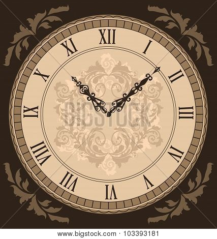 Close-up vintage clock with vignette arrows