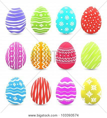 Easter many multicolored ornate eggs with shadows isolated on wh