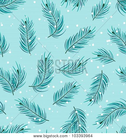 Seamless Pattern with Fir Twigs