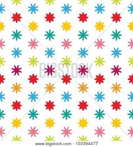 Seamless Floral Texture with Multicolored Flowers