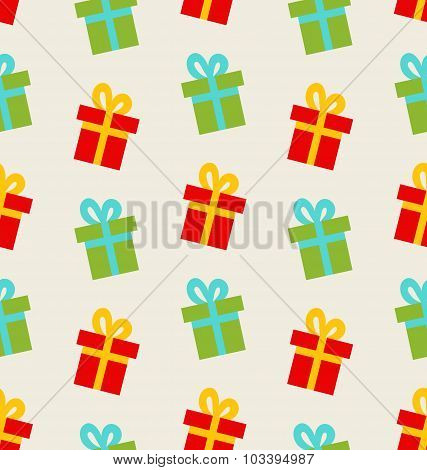 Seamless Pattern with Colorful Gift Boxes for Celebrate