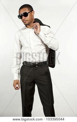 Serious Fashionable Black Man