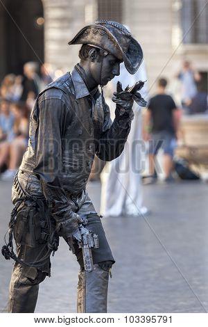 Cowboy Living Statue Street Performer