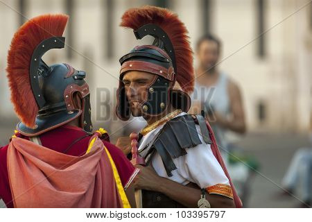Men Dressed Up As A Roman Legionnaire