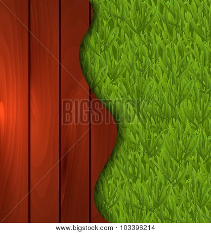 Eco design - freshness spring green grass and wooden floor
