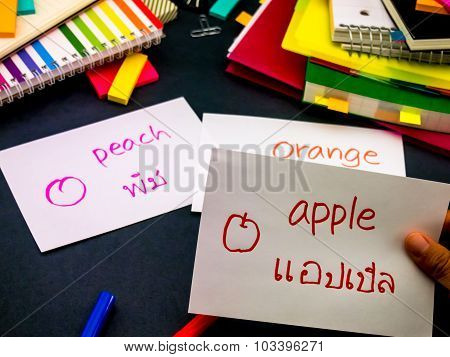 Learning New Language Making Original Flash Cards; Thai