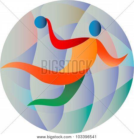 Handball Player Jumping Throwing Ball Circle