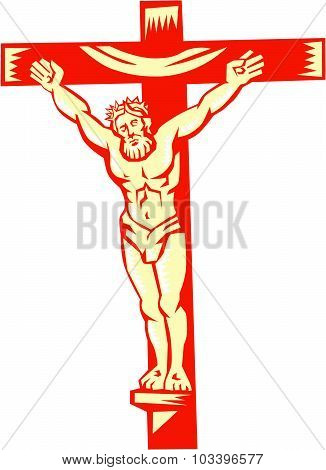 Jesus Christ On Cross Woodcut