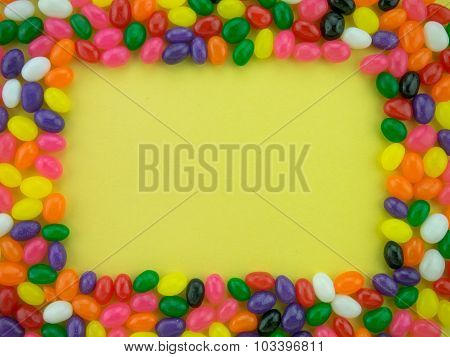 Jelly Beans Frame And Background ( Yellow Background )