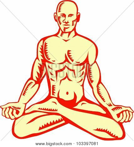 Man Lotus Position Asana Woodcut