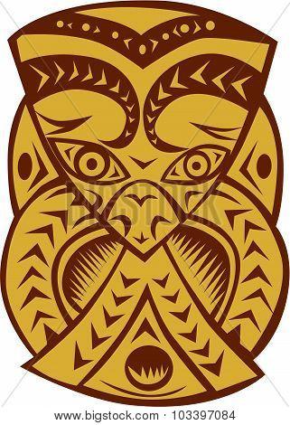 Maori Mask Woodcut