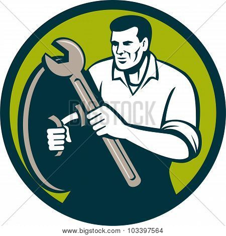 Mechanic Brandishing Spanner Wrench Circle Retro