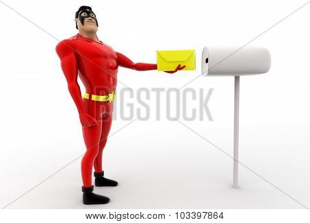 3D Superhero With Mail Box Concept