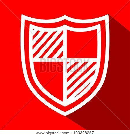 Shield white line flat icon
