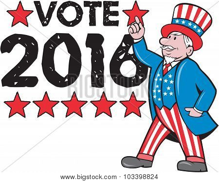 Vote 2016 Uncle Sam Hand Pointing Up Retro
