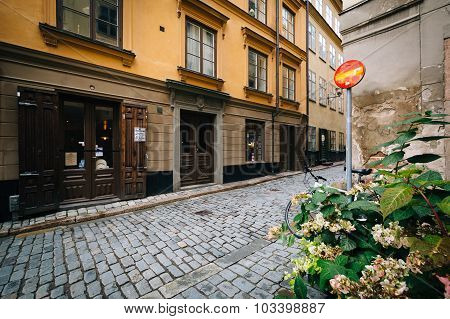 A Narrow Street In Galma Stan, Stockholm, Sweden.