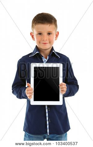 Beautiful little boy with digital tablet, isolated on white