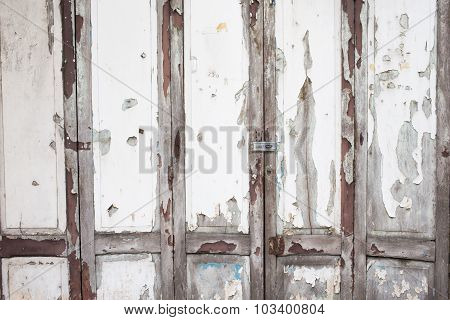 Old White Wood Door Weathered Background
