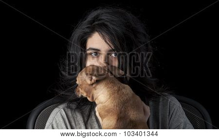 Latina Teen With Dog