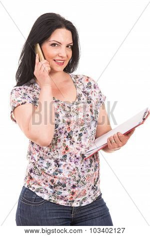 Casual Businesswoman Speaking By Phone