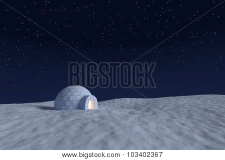 Igloo Icehouse With Warm Light Inside Under Night Sky With Stars Landscape