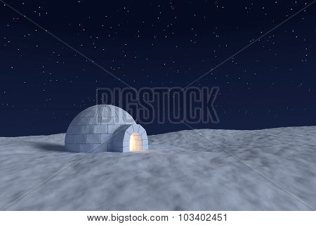 Igloo Icehouse With Warm Light Inside Under The Night Sky With Stars