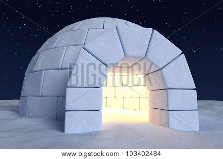 Igloo Icehouse With Warm Light Inside Under Sky With Night Stars Close-up View