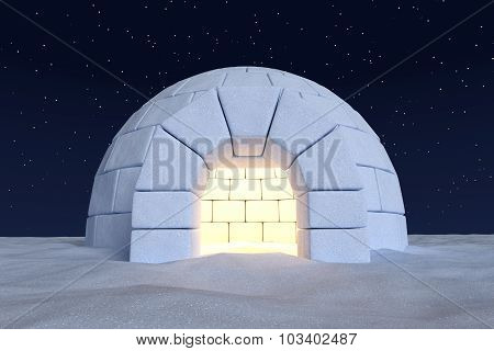 Igloo Icehouse With Warm Light Inside Under Sky With Night Stars Closeup View