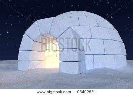 Igloo Icehouse With Warm Light Inside Under Night Sky With Stars Close-up View
