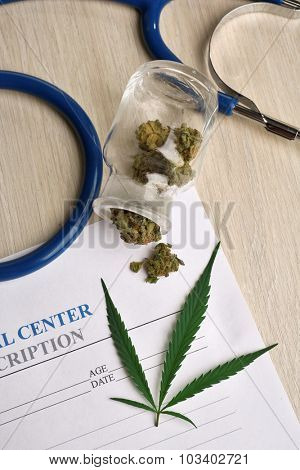 Medical prescription with dry cannabis on table close up
