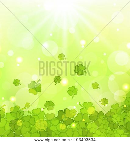 Glowing background with shamrocks for St. Patrick's Day