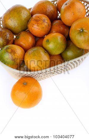 Orange Fruit In Basket, Isolated On White Background