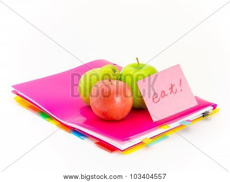 Office Documents And Apples; Eat
