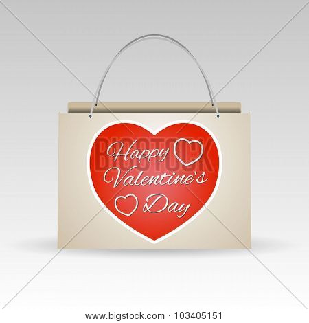 Valentines Day Red Paper Shopping Bag