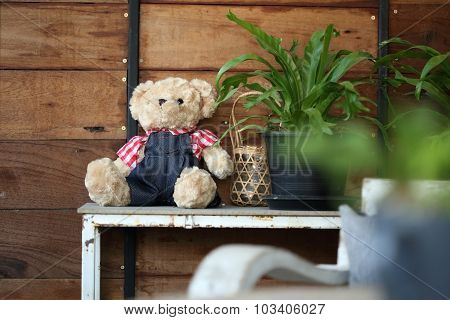Doll Teddy Bear Baby Decorated In Home With Wood Wall