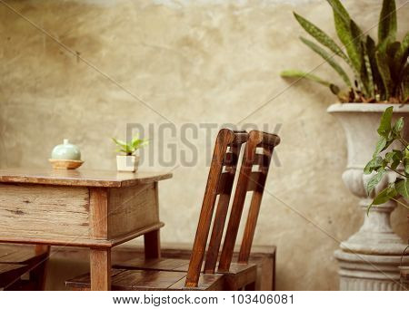 Set Of Wooden Table And Chair Decorated In Garden, Interior Of Cafe Coffee Shop With Natural
