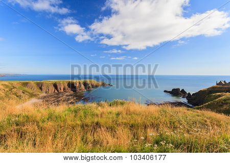 Beautiful Lanscape Of Hill And Rock At Dunnottar Castle Area, Aberdeen Scotland, Uk