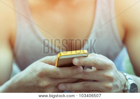 Lifestyle Young Man Using A Mobile Phone With Texting Message On App Smartphone, Playing Social Netw